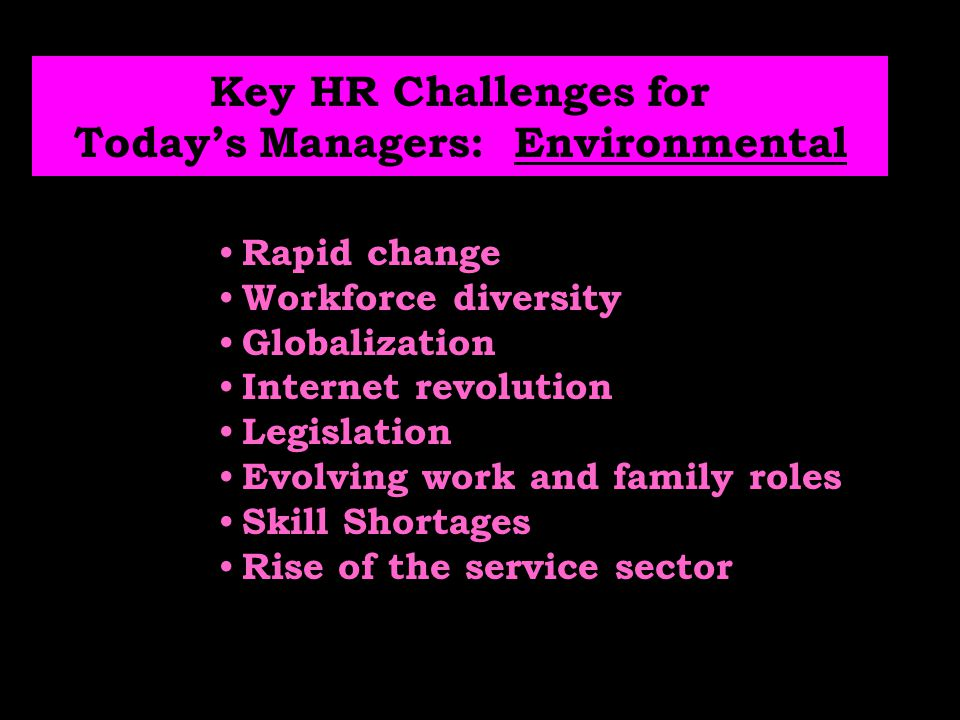 Key HR Challenges for Today's Managers: Environmental