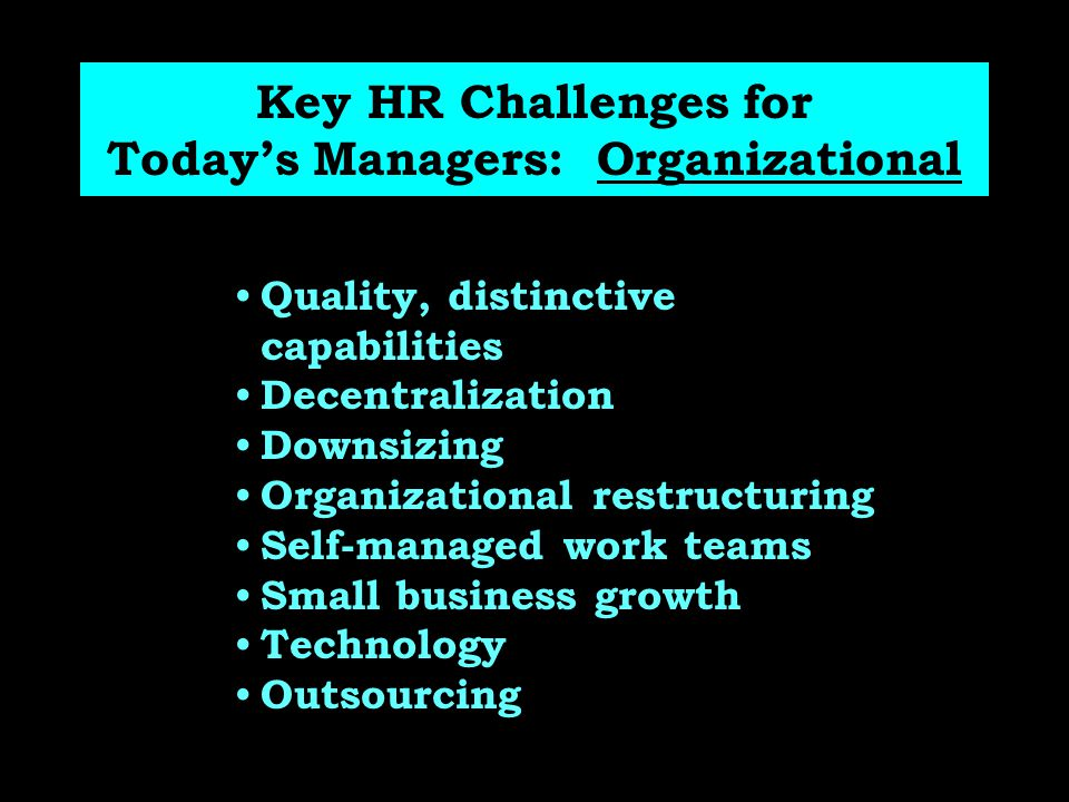 Key HR Challenges for Today's Managers: Organizational
