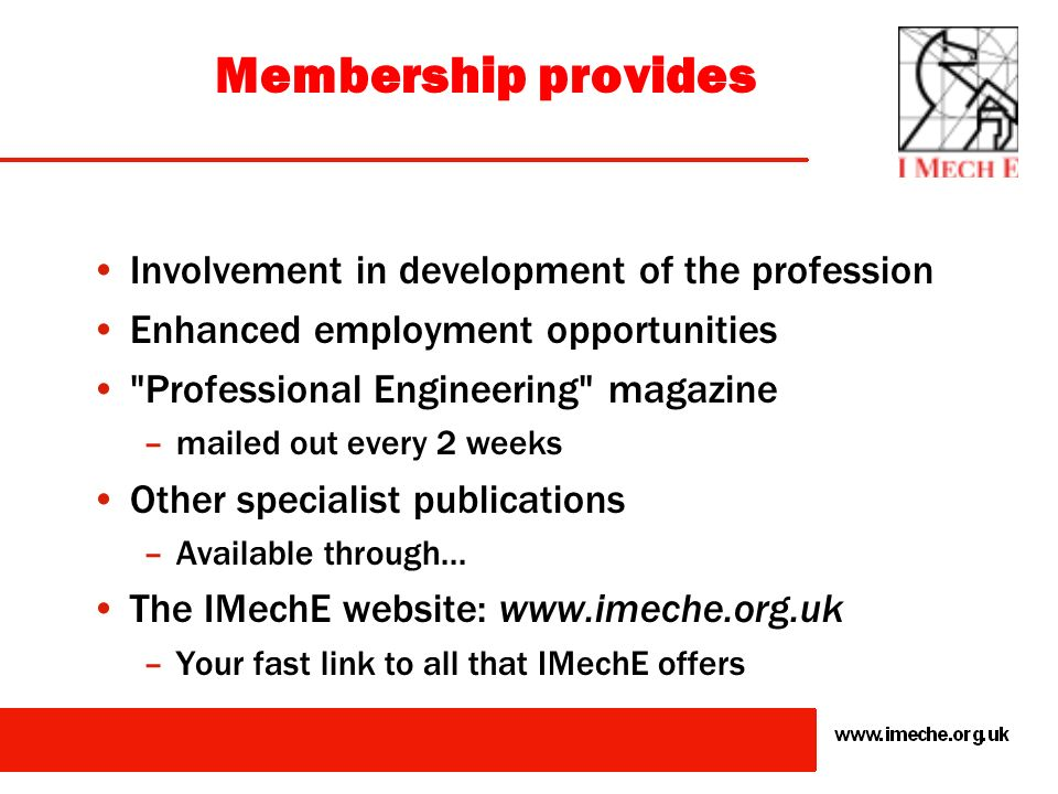 Membership provides Involvement in development of the profession