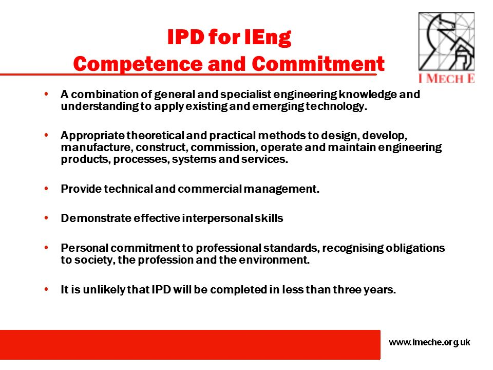 IPD for IEng Competence and Commitment