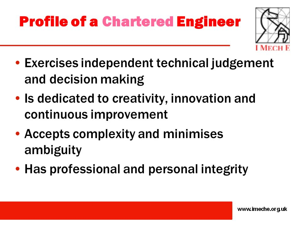 Profile of a Chartered Engineer