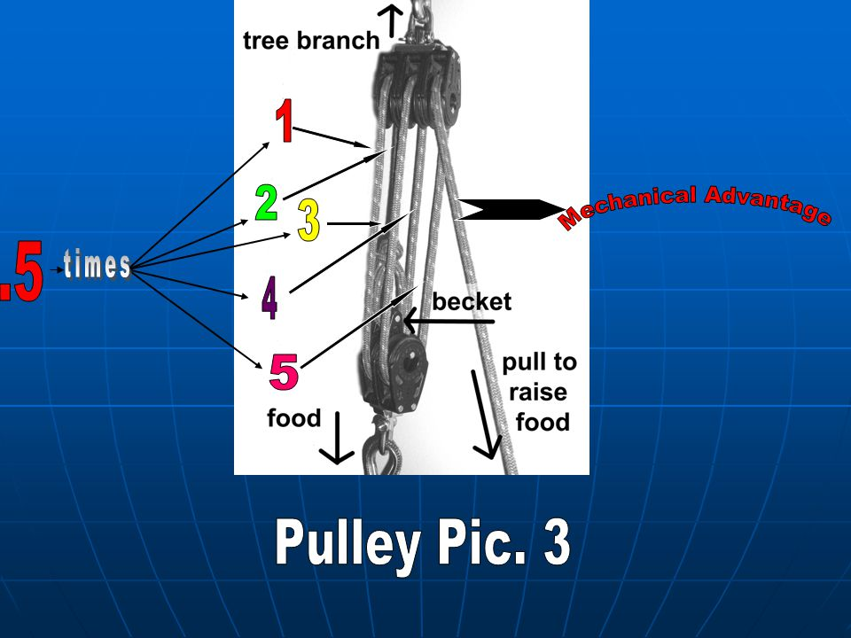 1 2 3 Mechanical Advantage .5 times 4 5 Pulley Pic. 3