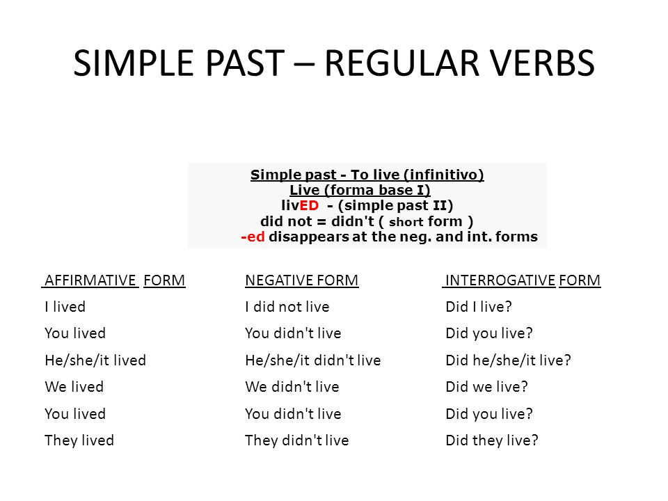 SIMPLE PAST – REGULAR VERBS
