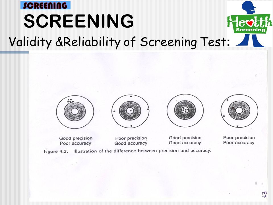 SCREENING SCREENING Validity &Reliability of Screening Test: