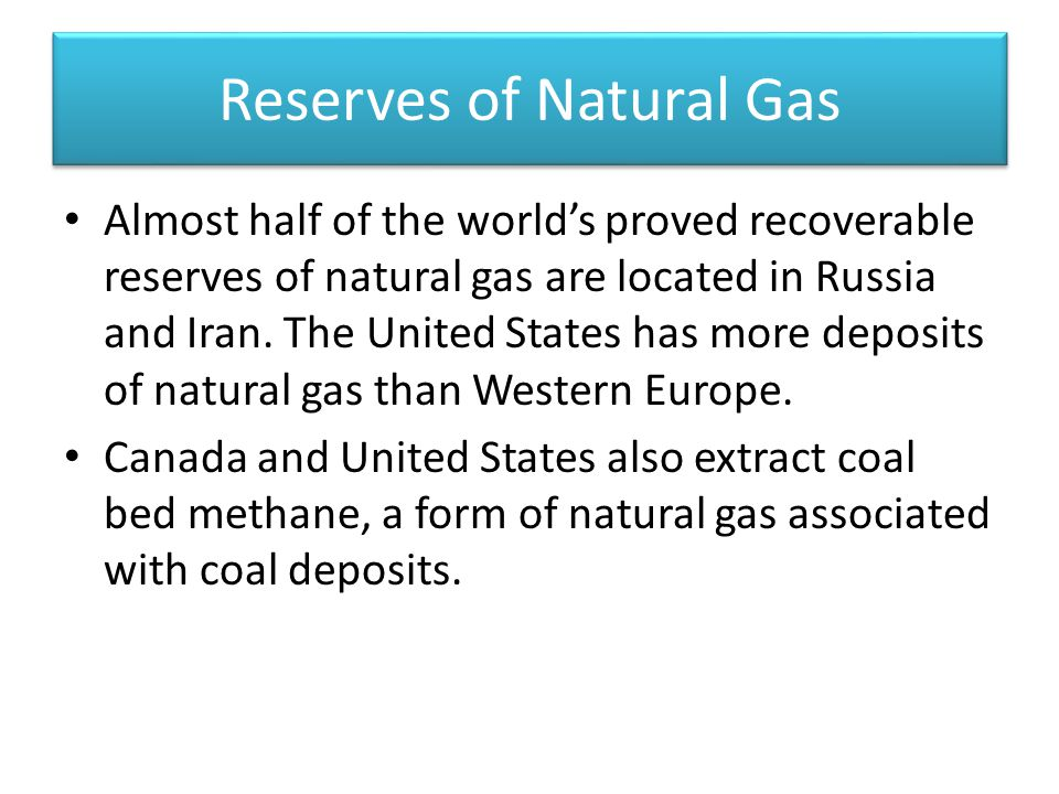 Reserves of Natural Gas