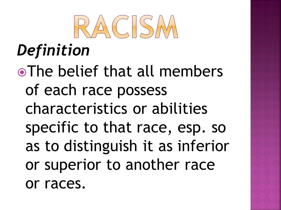 Racism Definition.