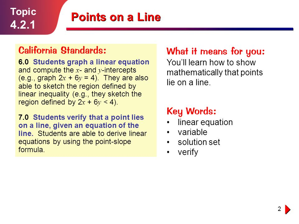 Points on a Line 4.2.1 Topic California Standards: