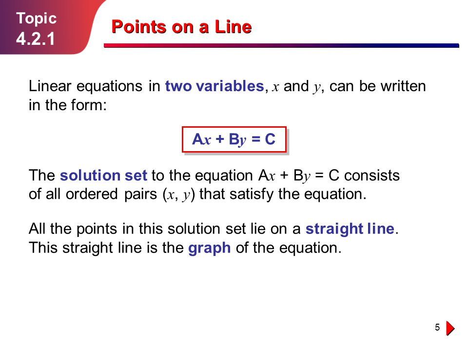 Topic 4.2.1. Points on a Line. Linear equations in two variables, x and y, can be written in the form: