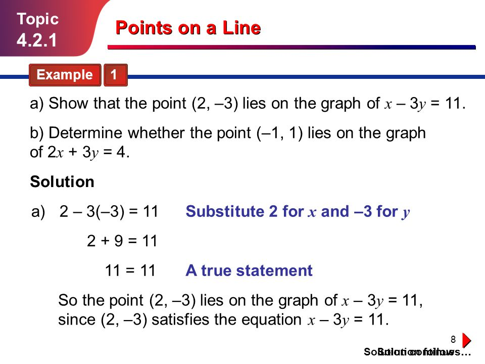 Topic 4.2.1. Points on a Line. Example 1. a) Show that the point (2, –3) lies on the graph of x – 3y = 11.