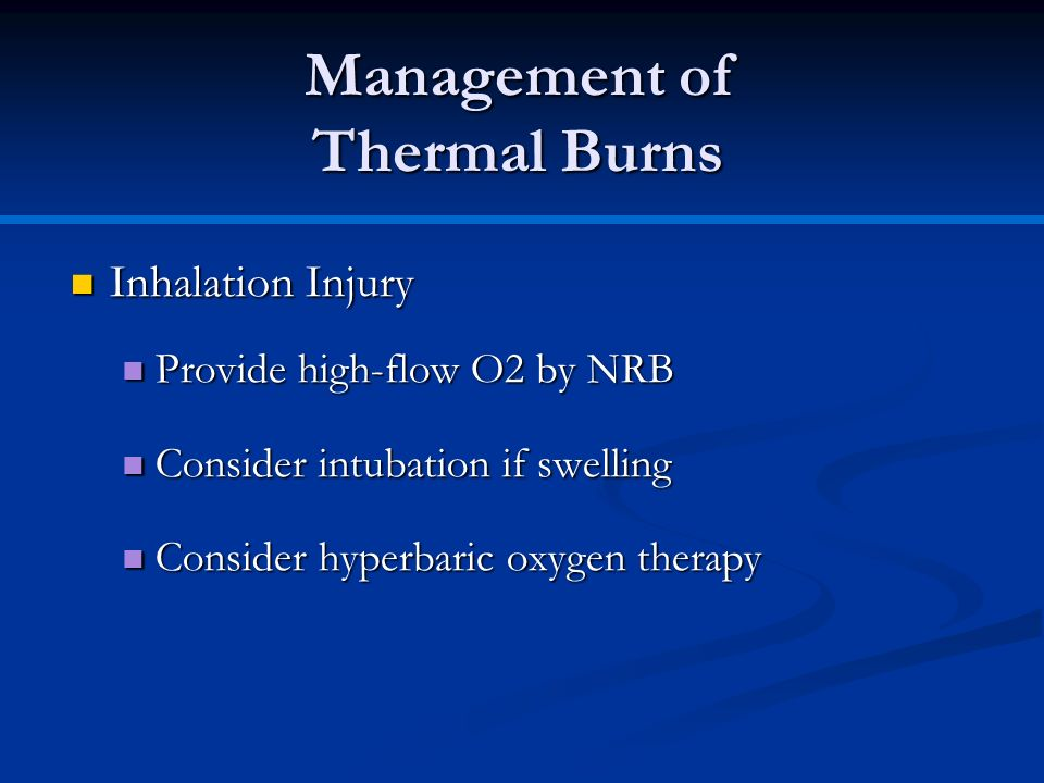 Management of Thermal Burns