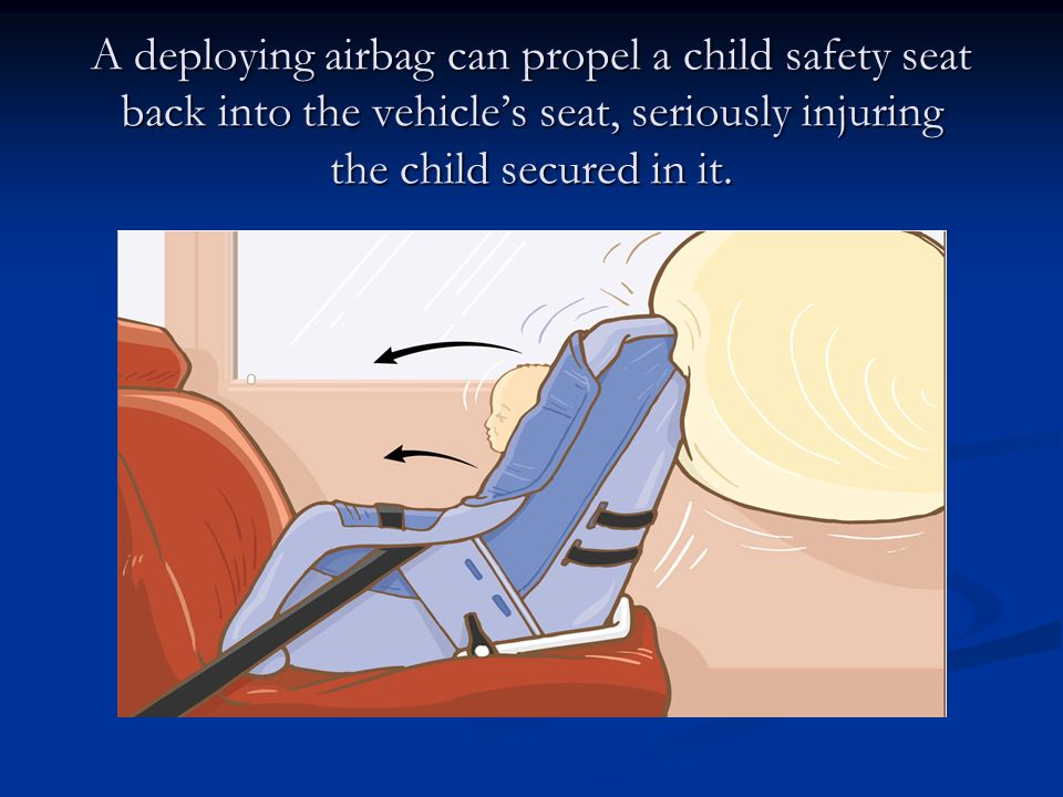 A deploying airbag can propel a child safety seat back into the vehicle's seat, seriously injuring the child secured in it.