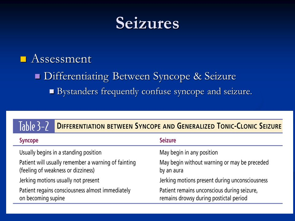 Seizures Assessment Differentiating Between Syncope & Seizure