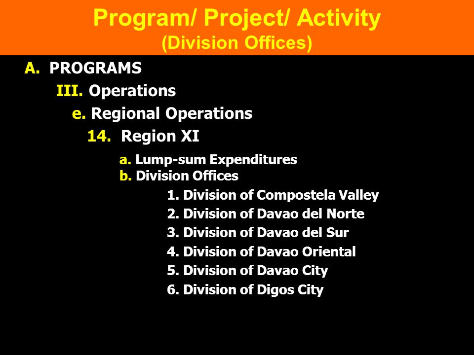 Program/ Project/ Activity (Division Offices)
