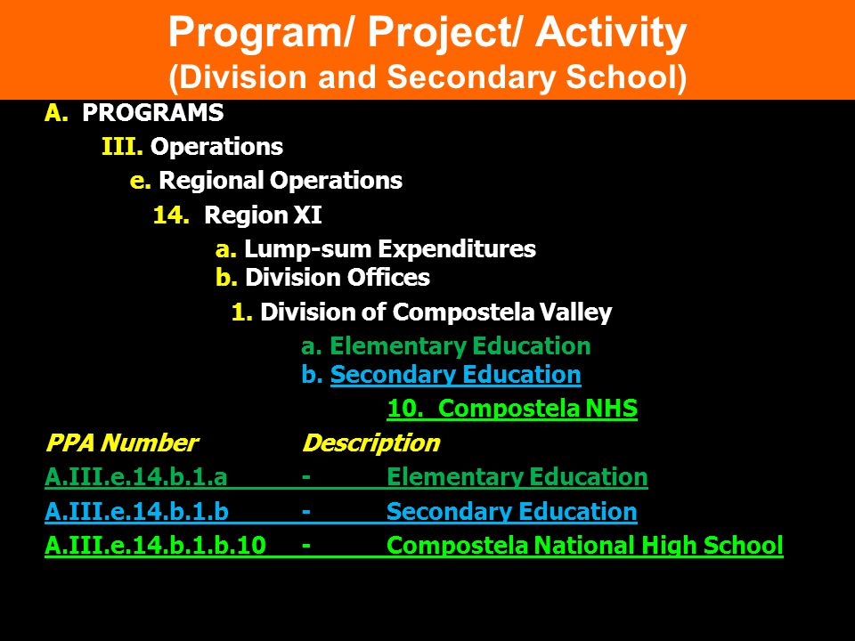 Program/ Project/ Activity (Division and Secondary School)