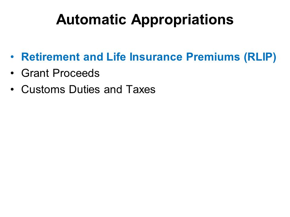 Automatic Appropriations