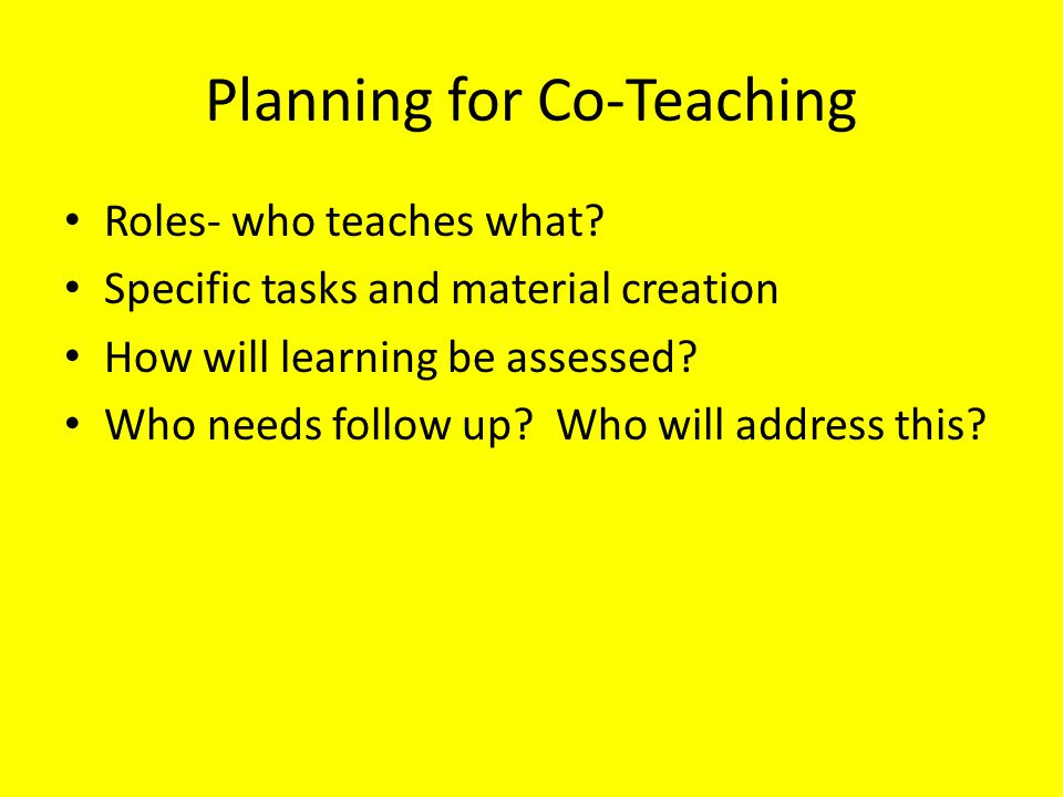 Planning for Co-Teaching