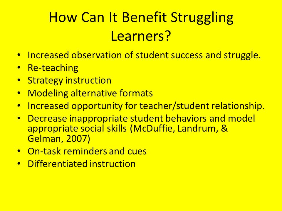 How Can It Benefit Struggling Learners