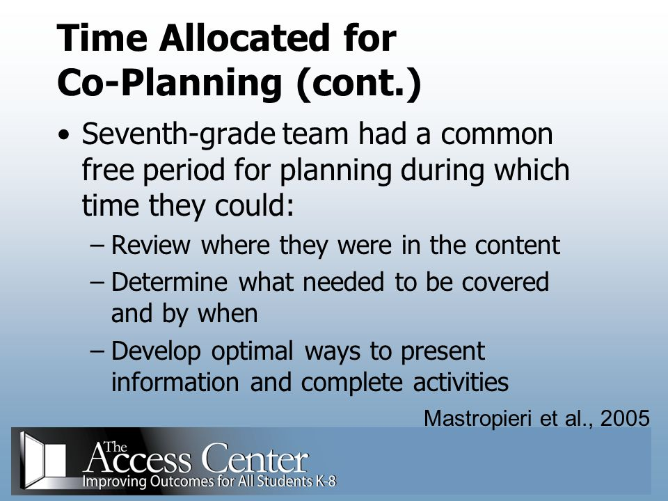 Time Allocated for Co-Planning (cont.)