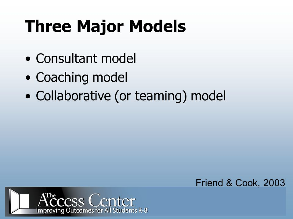 Three Major Models Consultant model Coaching model