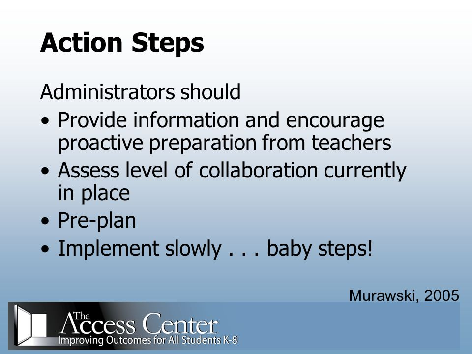 Action Steps Administrators should