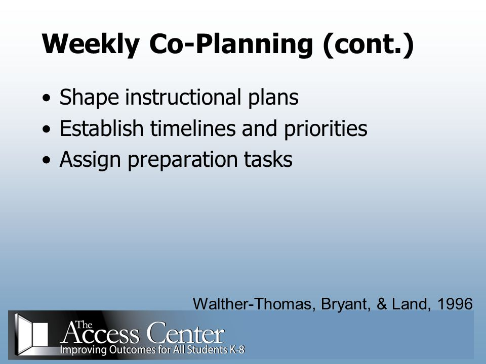Weekly Co-Planning (cont.)