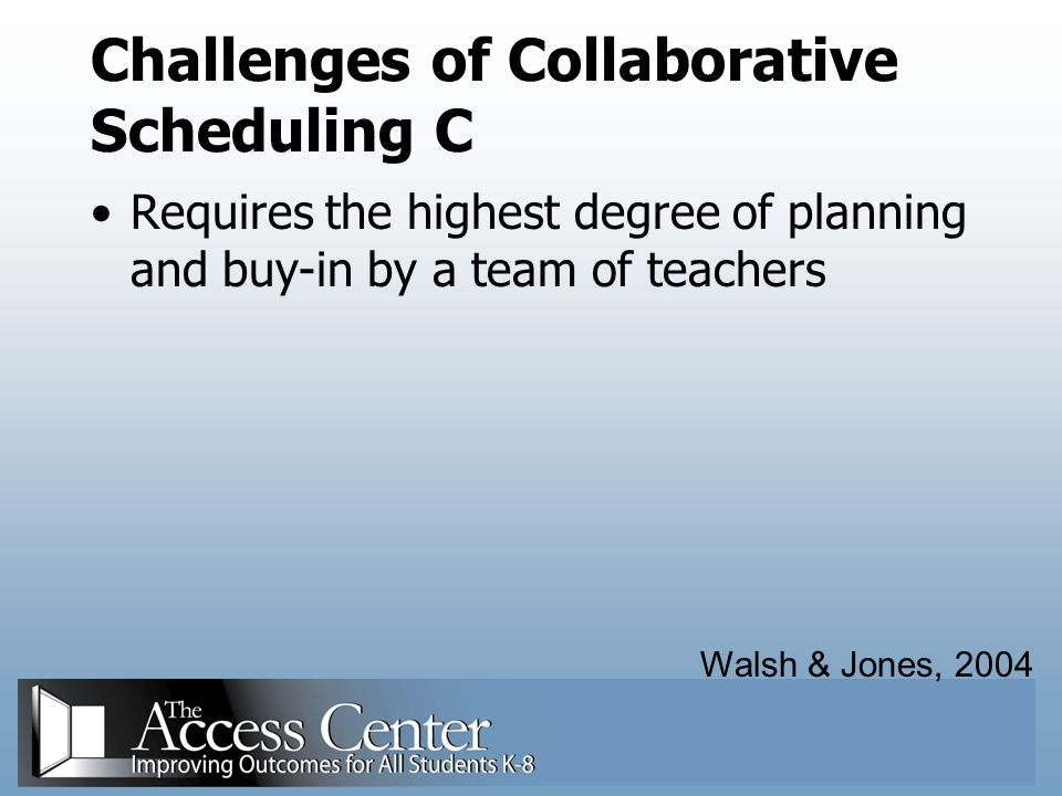 Challenges of Collaborative Scheduling C
