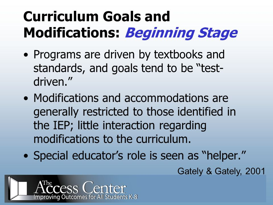 Curriculum Goals and Modifications: Beginning Stage