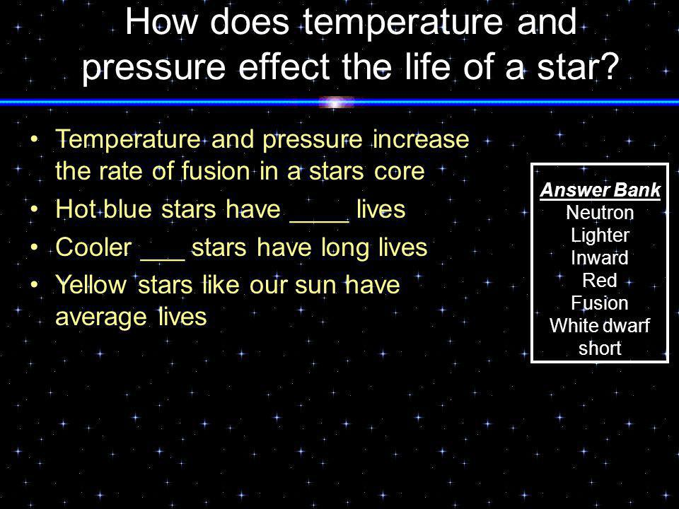 How does temperature and pressure effect the life of a star