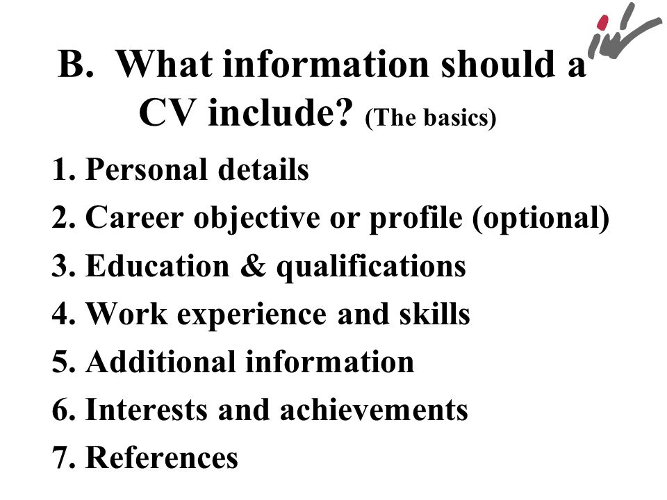 B. What information should a CV include (The basics)