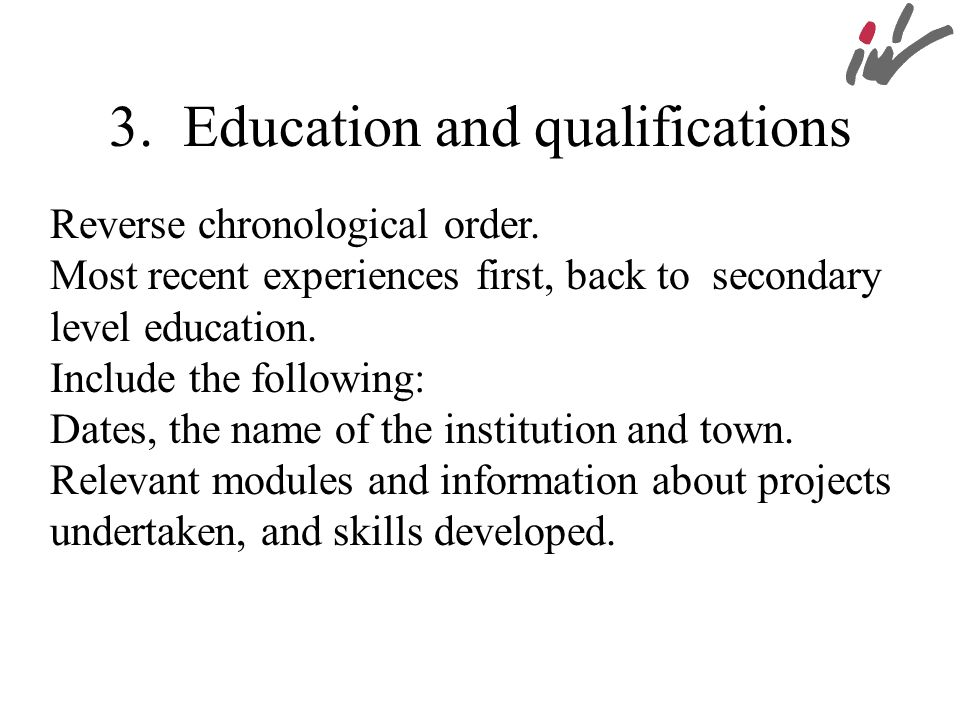 3. Education and qualifications
