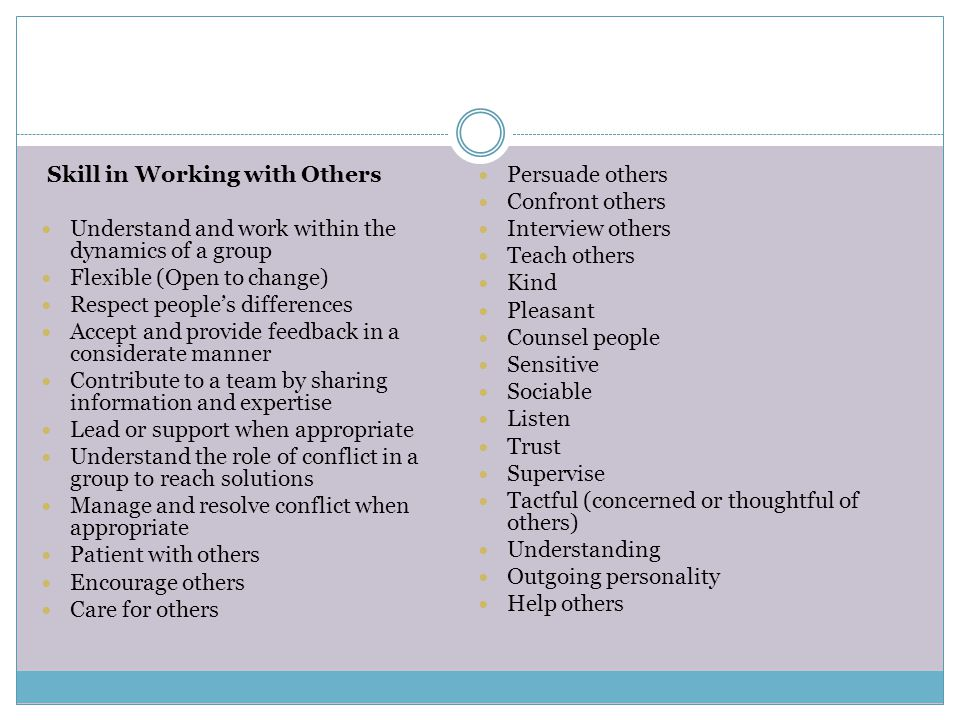 Skill in Working with Others