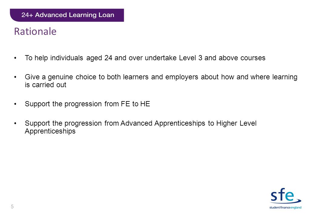 Rationale To help individuals aged 24 and over undertake Level 3 and above courses.