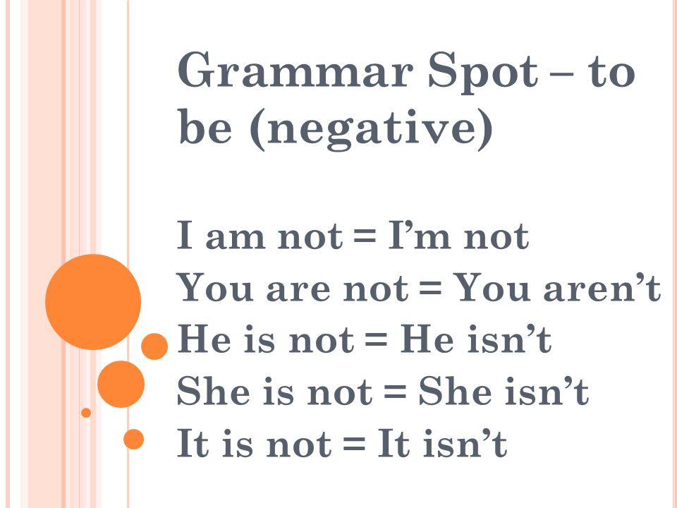 Grammar Spot – to be (negative)