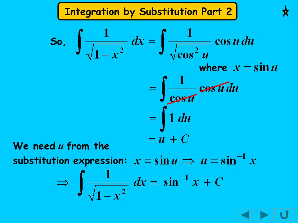 So, where We need u from the substitution expression: