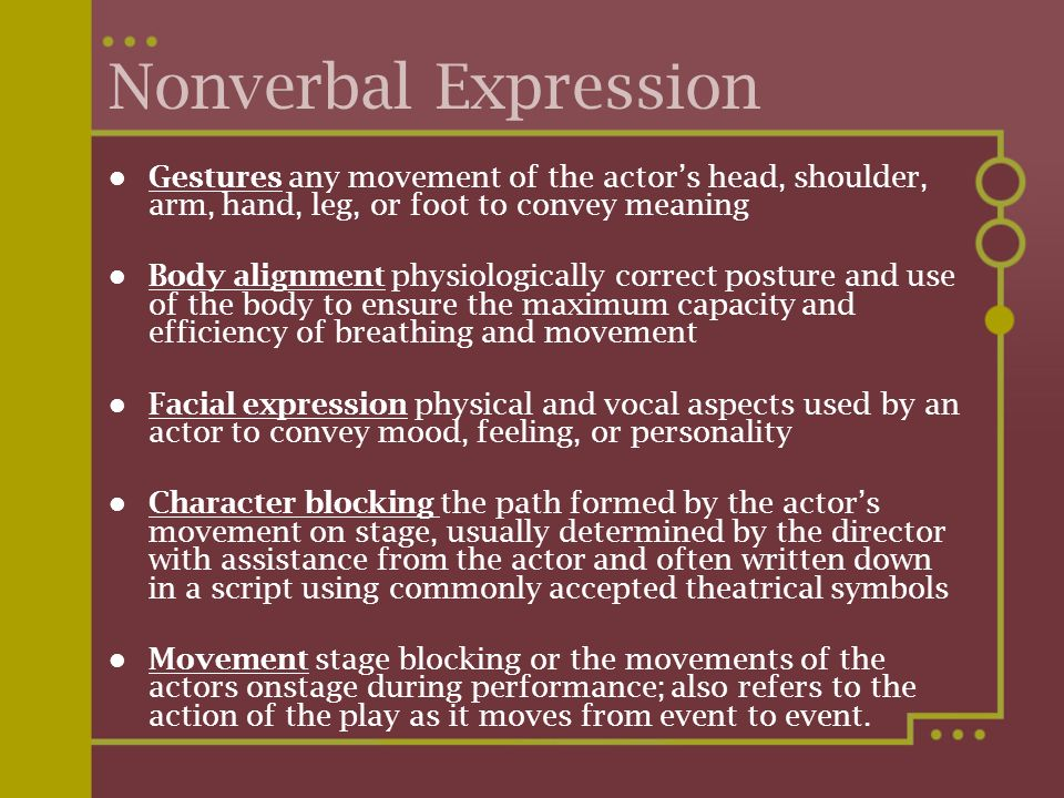 Nonverbal Expression Gestures any movement of the actor's head, shoulder, arm, hand, leg, or foot to convey meaning.