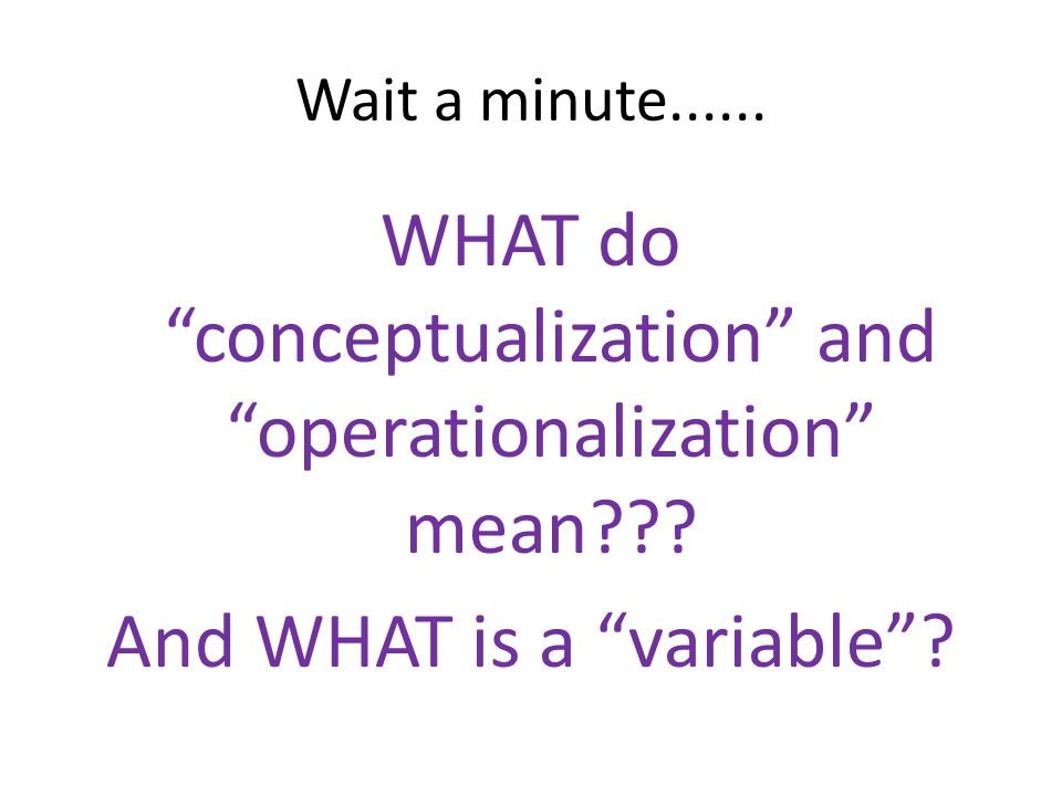 WHAT do conceptualization and operationalization mean