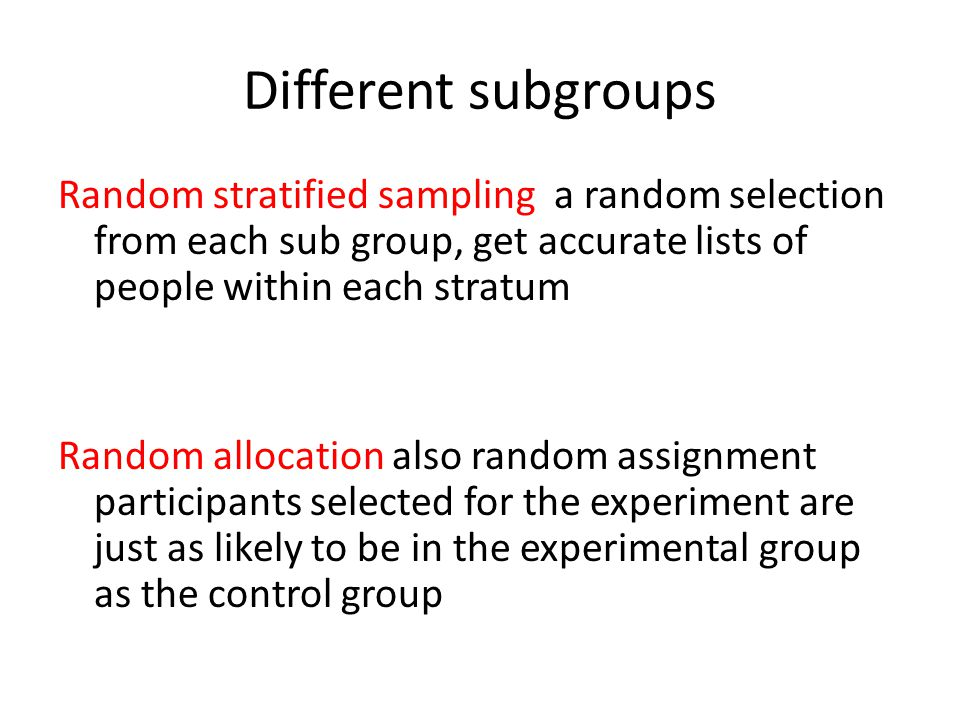 Different subgroups