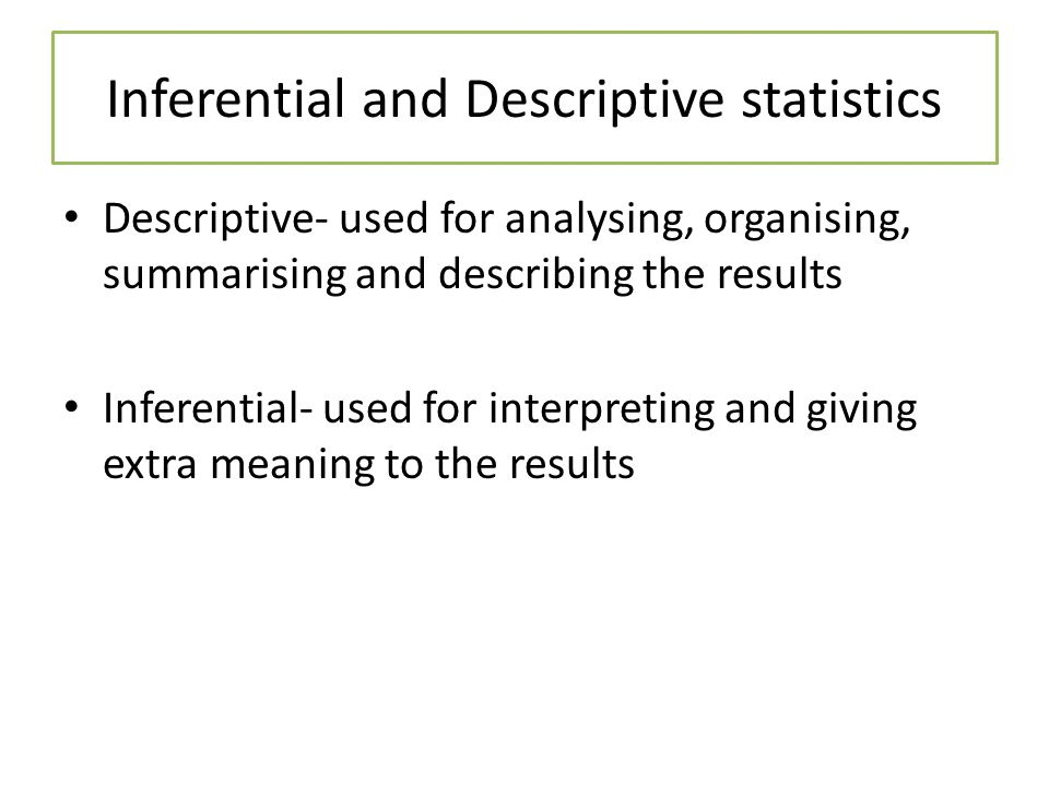 Inferential and Descriptive statistics