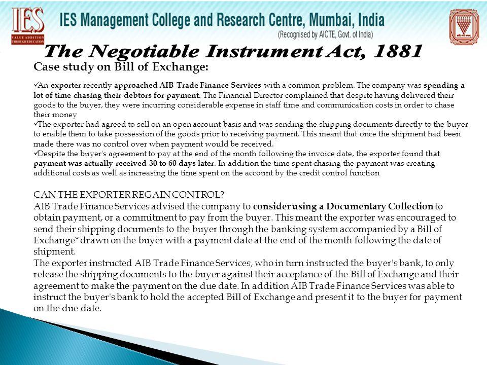 negotiable instrument case study