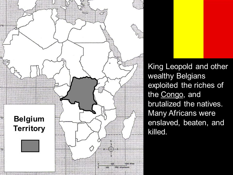 King Leopold and other wealthy Belgians exploited the riches of the Congo, and brutalized the natives. Many Africans were enslaved, beaten, and killed.