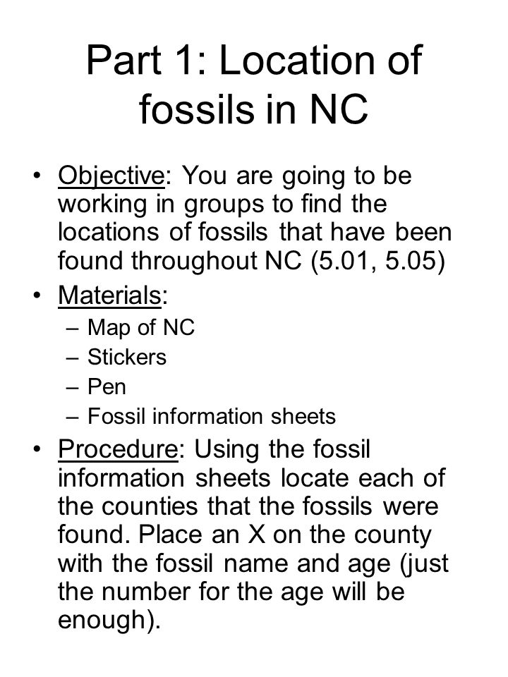 Part 1: Location of fossils in NC
