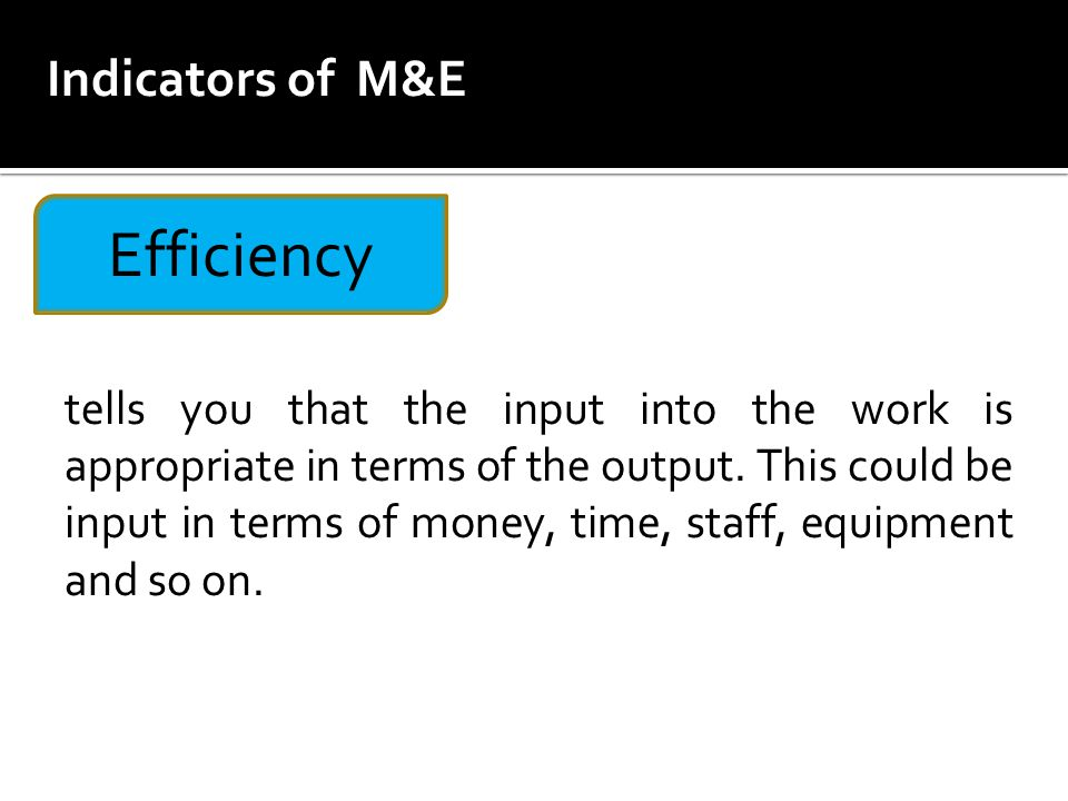Efficiency Indicators of M&E