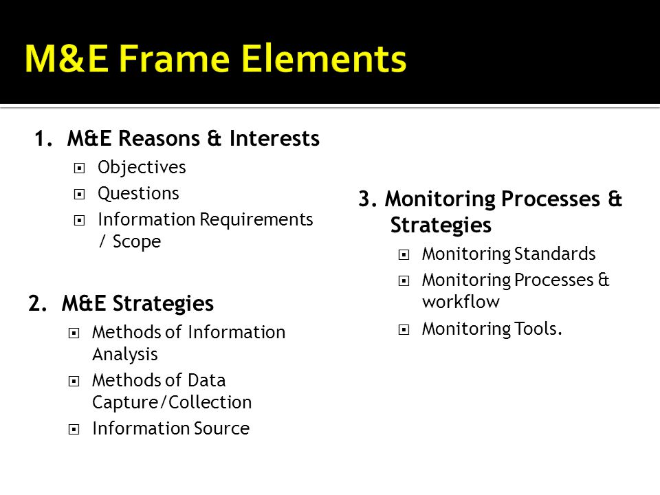 M&E Frame Elements M&E Frame Elements 1. M&E Reasons & Interests