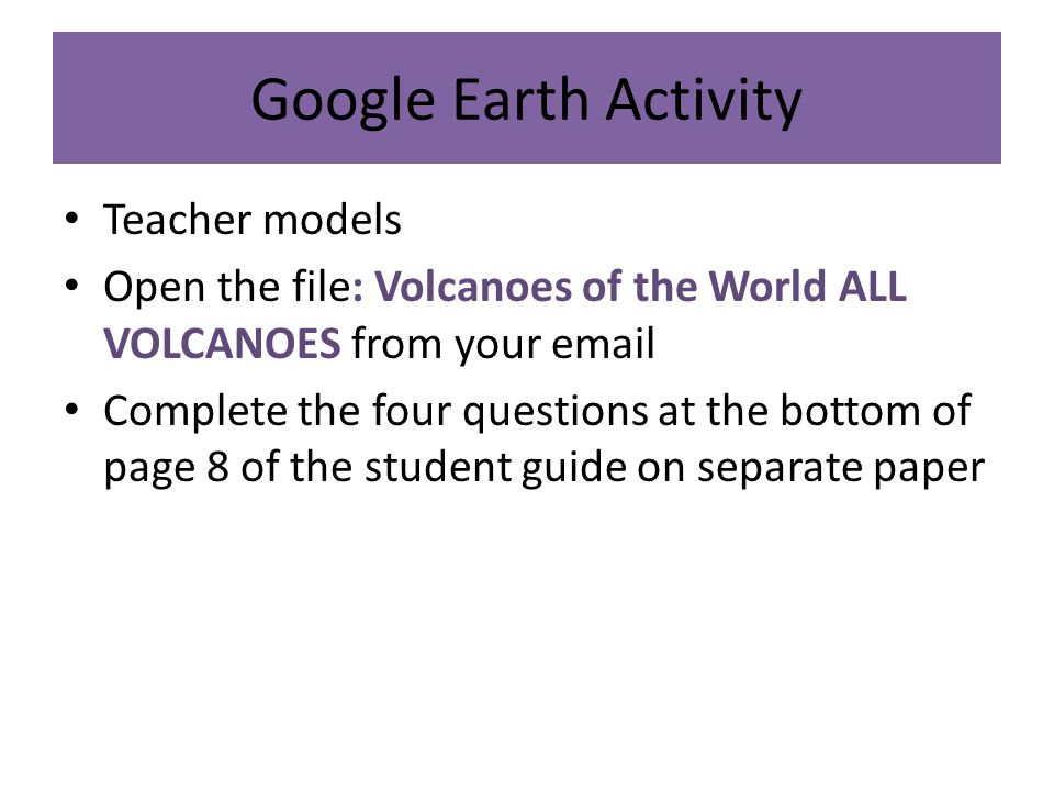 Google Earth Activity Teacher models