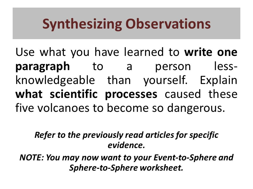 Synthesizing Observations