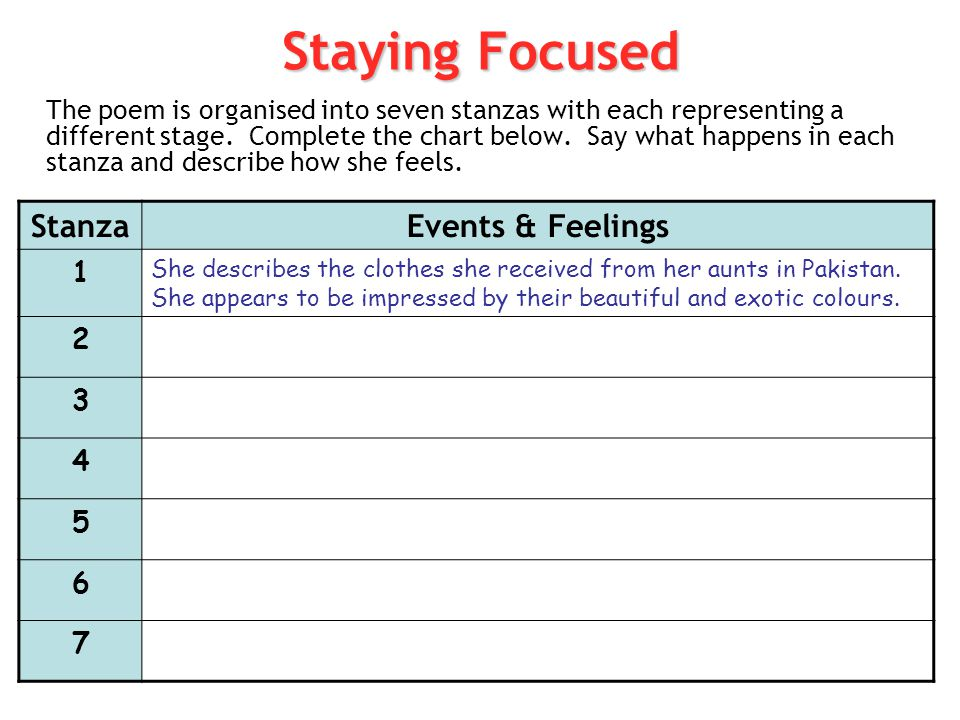 Staying Focused Stanza Events & Feelings 1 2 3 4 5 6 7