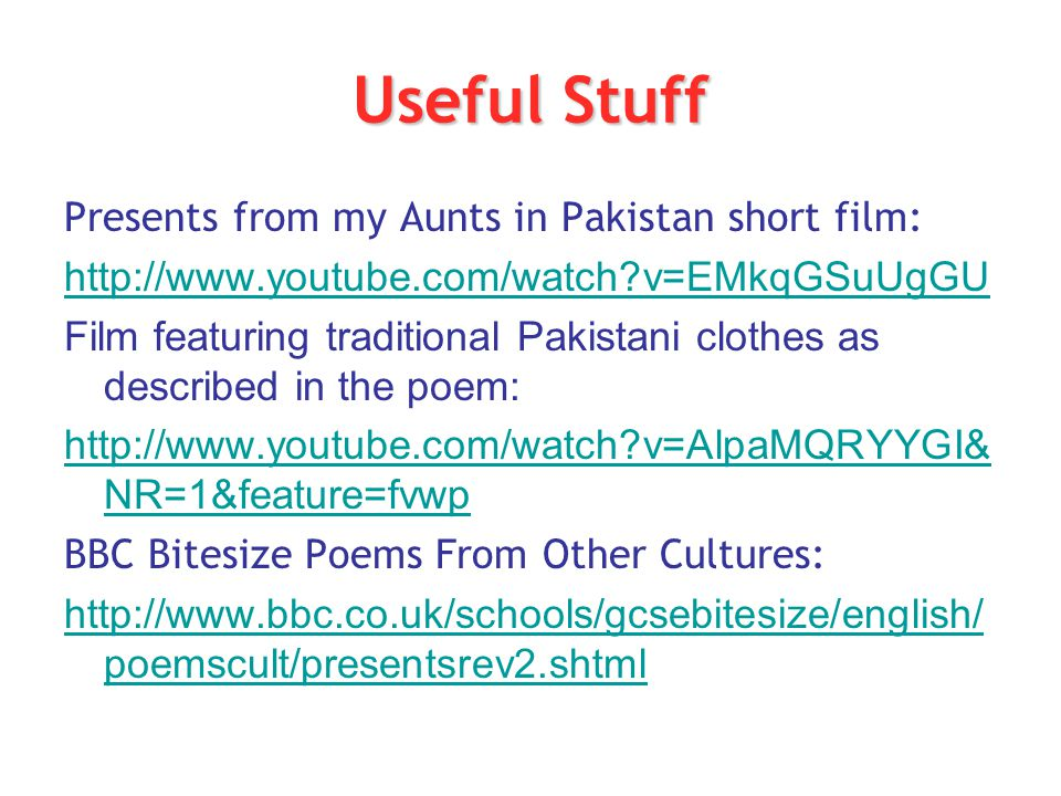 Useful Stuff Presents from my Aunts in Pakistan short film: