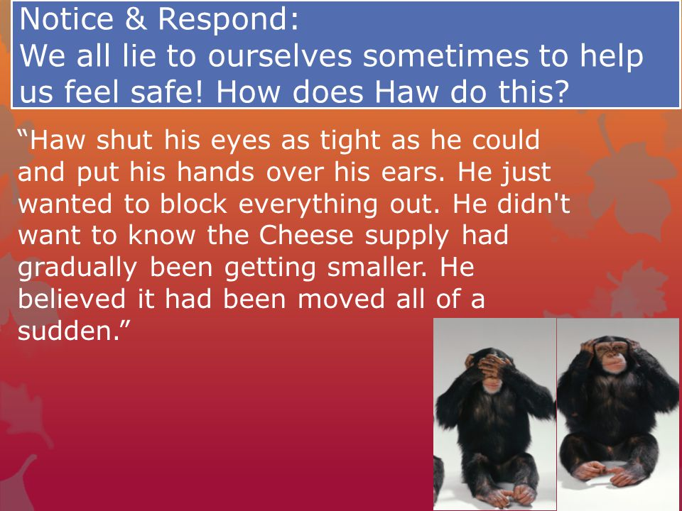 Notice & Respond: We all lie to ourselves sometimes to help us feel safe! How does Haw do this