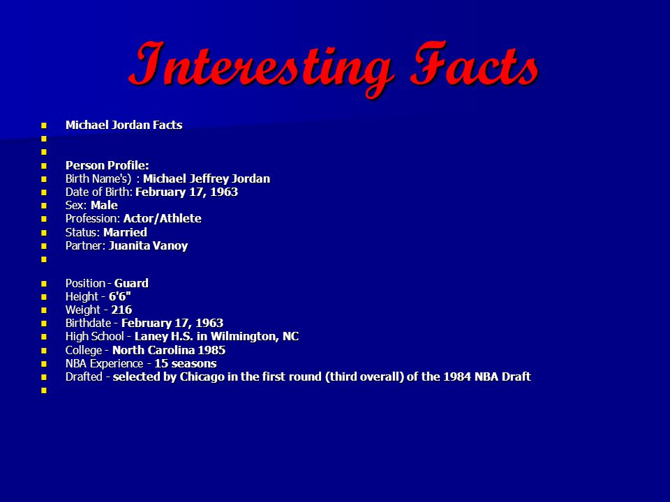 Interesting Facts Michael Jordan Facts Person Profile: