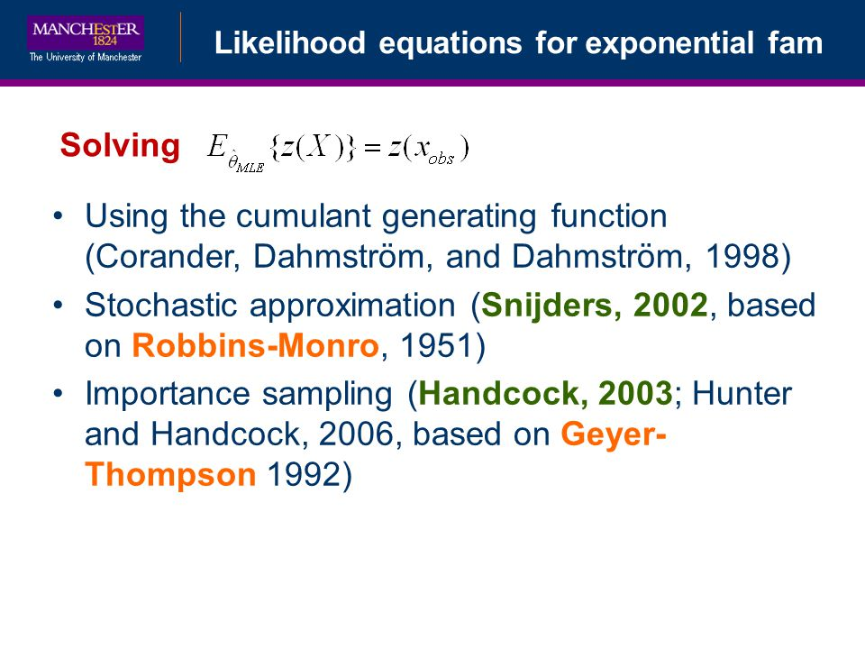 Likelihood equations for exponential fam